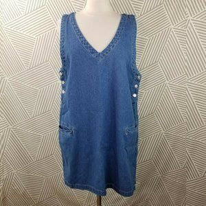 Cherokee Dresses - Vintage size XL Overall Dress Jean Denim Jumper